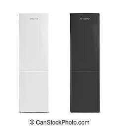 Two closed refrigerators, white and black. Vector illustration