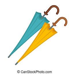 Two closed umbrellas