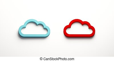 Two Cloud Computing Logo. 3D Rendering Illustration