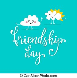 Two clouds holding by hands. - Friendship day holiday card....