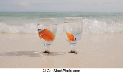 Two clown fish float in water in two glass cups on an exotic coast. Bowls with fish in the sand washed by the ocean water. Wedding idea.