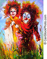 Two clowns on fishing