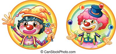 Two clowns on round badges