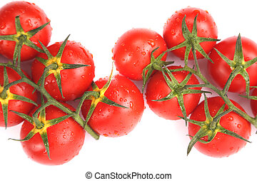 Two clusters of small red tomatoes