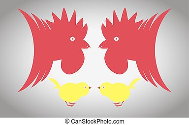 Two cocks and two chickens