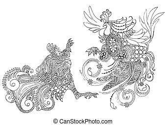 two cocks in the style of mehendi - Two dancing rooster...