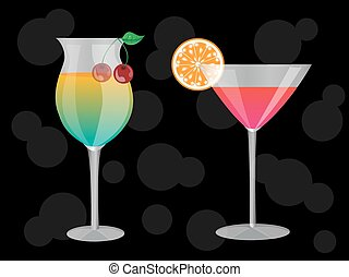 cocktails - two cocktails at the grocery decorated with a ...