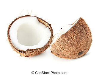 two coconut halfs with milk isolated on white - two halfs of...