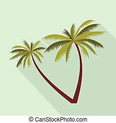 Two coconut palm trees icon, flat style