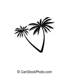 Two coconut palm trees icon, simple style