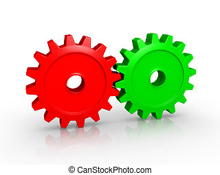 Two cogwheels attached - Two different colored 3d cogwheels ...