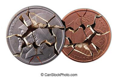Two coins - A broken drachma coin and broken 1 cent coin