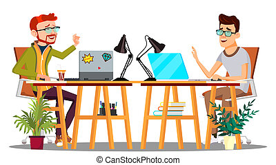 Two Colleagues Sitting At The Table With Computers Laughing At Joke Vector. Isolated Illustration