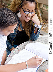college students studying - two college students studying on...