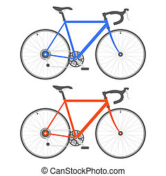 Two Color Bicycle on White Background. Vector