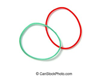 Two color circle rubber bands intersection isolated over...