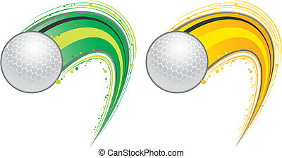 two color flying golf balls.