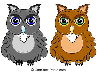 Two color Owls, objects isolated