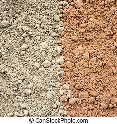 Natural silty soil background, gray and red.