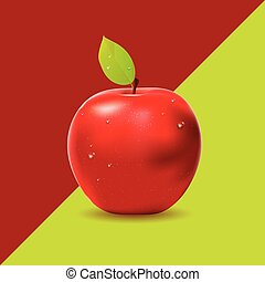 Two colored background with red apple