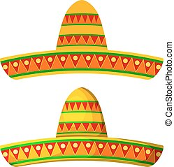 Two Colored Cartoon sombrero on a white background. Isolate....
