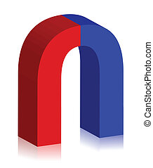 two-colored magnet 3d illustration