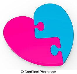 two-colored, serce, zagadka, małżeństwo, widać