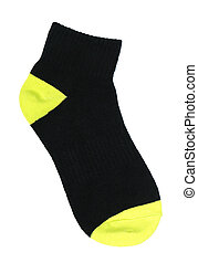 Two-colored sock - One two-colored sock isolated on white...