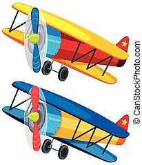 Two colorful airplanes on white background