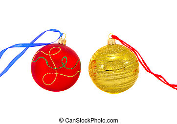 two colorful Christmas balls isolated on white