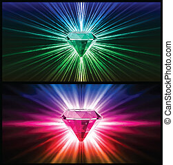 Two Colorful diamonds on bright backgrounds. Vector