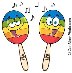 Two Colorful Mexican Maracas Cartoon Mascot Characters...