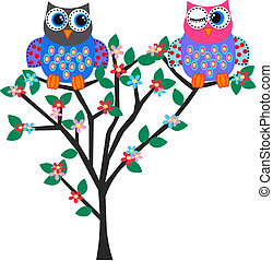 two colorful owls