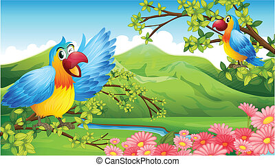 Illustration of two colorful parrots in a mountain scenery