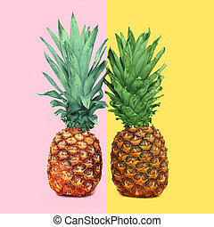 Two colorful pineapple on background, ananas concept
