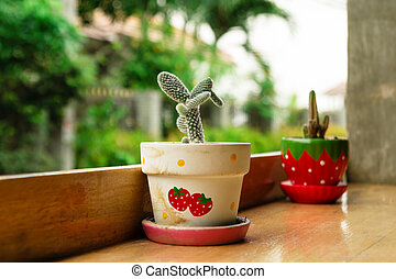 Two colorful pots with cactus on a wooden table in a cafe.