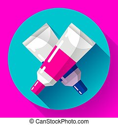 two colorful vector paint tubes icon.