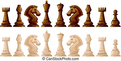 Two colors of chess pieces illustration