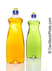 Two colourful bottles of dishwashing liquid on white...
