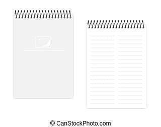 Two column dashed line top spiral A5 notebook, vector mock up