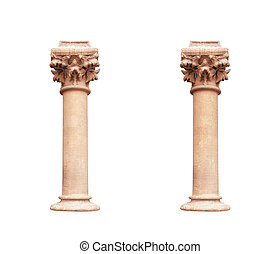 two columns in classical architectural style isolated on white background