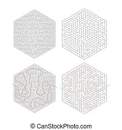 Two complicated hexagon-shape labyrinths with red path of solution isolated on white