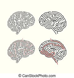 Two complicated mazes in brain shape, labyrinths with red path solutions on white
