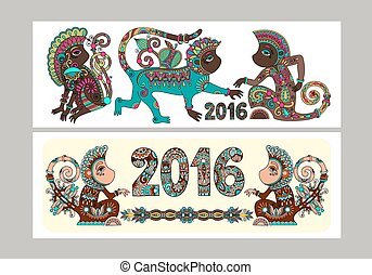 Two composition template layout specially for sublimation printing on standard mug in A4 format paper, original design collection for new year celebration with decorative ape and inscription - 2016