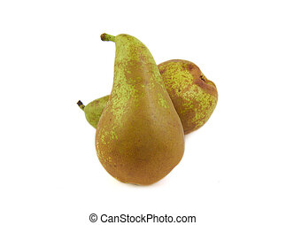 Two conference pears on white background