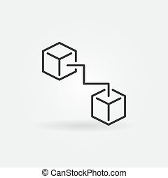 Two connected cubes icon - vector blockchain symbol
