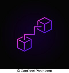 Two connected cubes purple icon - vector blockchain logo