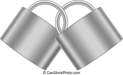 Two connected padlocks in silver design