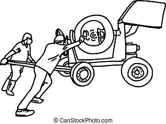 two construction workers pushing concrete mixer machine - vector illustration sketch hand drawn with black lines, isolated on white background