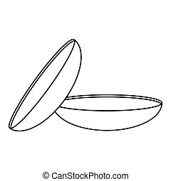 Two contact lenses icon, outline style - Two contact lenses...